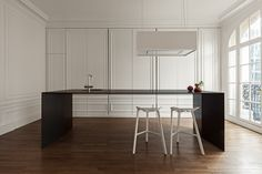 """Interior architects created a stunning """"invisible"""" kitchen space that hides all the various appliances that are functional but not exactly beautiful. Love this idea and execution. Design Studio, Küchen Design, House Design, Blog Design, Design Ideas, Appartement Design, Hidden Kitchen, Cuisines Design, Architect Design"""