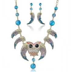 Ever Faith 18K GP Chunky Owl Bird Angel Wing Purple Blue Austrian Crystal Necklace Earring Set Ever Faith. $34.95.
