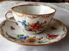 Hand Painted Dresden Cup and Saucer by Karl Richard Klemm