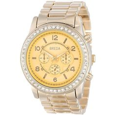 """Bredagold """"Jordan"""" Rhinestone-Accented Gold-Tone  Boyfriend Watch ($44) ❤ liked on Polyvore featuring jewelry, watches, water resistant watches, goldtone jewelry, bezel watches, oversized wrist watch and gold-tone watches"""
