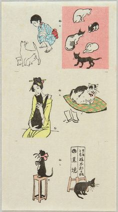 "* Collection of Cats Ca. 1920 - 30. ""Neko Zukushi"" (Collection of Cats). The very rare uncut collection of cat prints. The girl holding a black cat was Oyo, a lover of Yumeji. Yumeji Takehisa has been considered as the main figure who propelled ""Taisho romanticism"". The dreamy, fragile looking girls Yumeji invented in his works were so popular during 1900 - 1930s that they became the cultural icon of the Taisho - early Showa era. Many artists imitated this ""Yumeji Loo Yumeji Takehisa…"