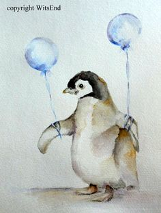 'THE AMAZING EDWARD' (Like the little train that could, Edward was determined to fly......) Baby Penguin painting original nursery watercolor art by 4WitsEnd, via Etsy