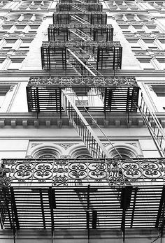 Fire Escape Stairs, Canal Street, New York City. One can find beauty in architecture all around NY. Photo New York, Architecture Unique, New York Architecture, Ville New York, Fire Escape, Stairway To Heaven, Concrete Jungle, Interior Exterior, Stairways
