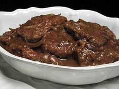 Crock pot cube steaks with onions and brown gravy, yum.