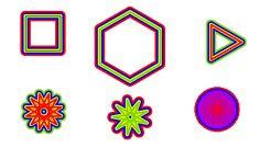 """Il fatto di costruire figure """"orlate"""", basate sulla ripetizione di una figura interessante con diversi colori e spessori, sembra un classico!  Tratto da logoprojects.wikispaces.com"""