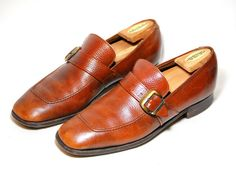 Vintage Brown Leather Loafers/Shoes With Buckle by Ramenzombie, $30.00