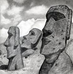 how to draw easter island heads, moai statues