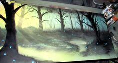 """Mana Flow"" (a spray painting) by Windswept Design. http://illusion.scene360.com/news-community/mana-flow-spray-paint-art/  #art #trees #spraypaint #spraypainting"