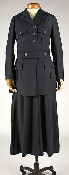 This was a women's uniform from WW1. This is an American made garment from around 1914-1918. The jacket and skirt are made from wool. The pieces would be worn by a working woman aiding in war efforts. The skirts were shorter than most so it  was easier to move around in.