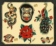 traditioana; tattoo flasj | Speedboys: 1963 Vintage Traditional flash tattoo