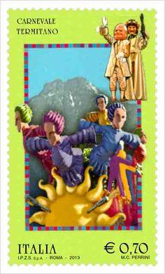 Il francobollo raffigura un carro allegorico con i pupazzi di cartapesta tipici del Carnevale Termitano e, sullo sfondo, Monte San Calogero. Emissione: 4 febbraio 2013.