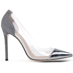 Gianvito Rossi Closed-Toe Slip-Ons ($522) ❤ liked on Polyvore featuring shoes, pumps, heels, high heels, обувь, silver, leather pumps, leather high heel shoes, gianvito rossi pumps and genuine leather shoes