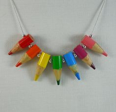 Colored Pencil Necklace Jewelry Upcycled Beaded Teacher by miceart