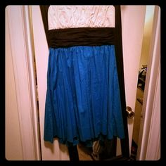 White, Black, & Blue dress Nice flowing strapless dress only worn once Dresses Strapless