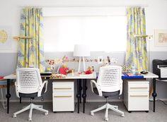 IKEA desk top with fun legs. Colorful plexi desk blotters are so fun