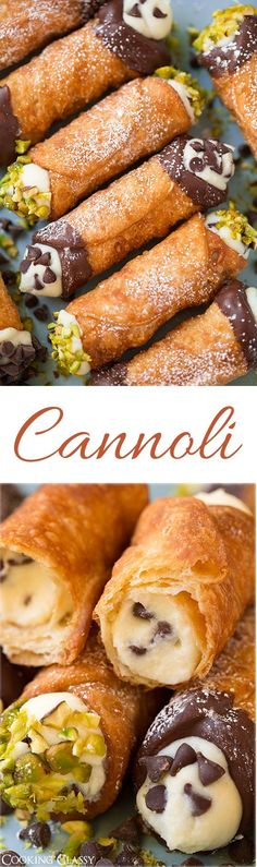 Cannoli~~Perfectly crisp shell and deliciously creamy filling. Just like the ones from Italian bakeries.Cannoli~~Perfectly crisp shell and deliciously creamy filling. Just like the ones from Italian bakeries. Italian Bakery, Italian Desserts, Italian Recipes, Italian Pastries, Italian Cookies, Canadian Recipes, Italian Foods, French Recipes, Mexican Recipes