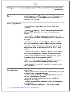 international standard office manager resume sample in word doc