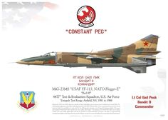 """MiG-23MS """"Flogger-E"""" USAF 4477th Test & Evaluation Squadron """"Red Eagles"""" Tonopah Test Range Airfield, NV, 1981 to 1988"""