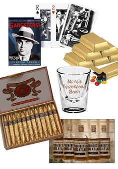 Speakeasy party favors. Forget goody bags, send your guests home with a more grown up speakeasy-style favor. Look for items depicting famous gangsters, or choose classics like cigars (real or chocolate), or personalized bar glasses. And of course everyone loves liquor! (If your guests are over 21, obviously.) Find more ideas at www.sparklerparties.com
