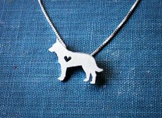 Austrailian Cattle Dog/Blue Heeler necklace, sterling silver hand cut pendant, with heart, tiny dog breed jewelry