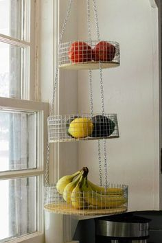 Easiest DIY Kitchen Decor Ideas You Can Actually Make Yourself Three Tier Fruit Basket Tiered Fruit Basket, Hanging Fruit Baskets, Diy Kitchen Projects, Diy Kitchen Decor, Diy Projects, Wire Basket Shelves, Wire Baskets, Fruit Storage, Diy Home Decor Rustic