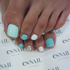 Nail Art Design - Aqua  White with Glitter Accent Nail