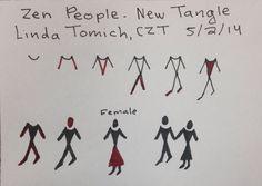 Zentangle Pattern - Zen People - Linda Tomich CZT Doodle Patterns, Zentangle Patterns, Zentangles, Drawing Art, Art Drawings, Doodle Characters, Zen Doodle, Art Sketchbook, Learn To Draw