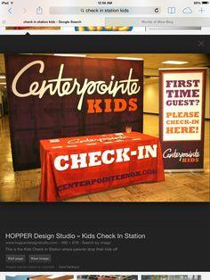 Kids Check In Station Kids Church Decor, Kids Church Rooms, Church Nursery, Church Ideas, Children Church, Church Signs, Church Banners, Church Ministry, Kids Ministry