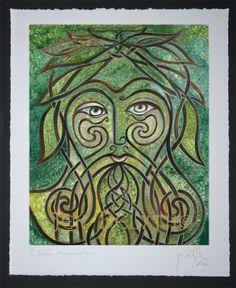 Green Man Limited Edition Celtic Art Print by Welsh artist Jen Delyth - Celtic Art Studio