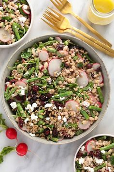 A light and fresh farro salad made with al dente farro, blanched asparagus, radishes, microgreens, and goat cheese. Meal-prep this recipe for a healthy lunch all week long. #mealprep