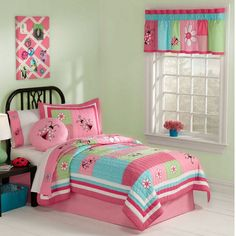 Pink Blue Green Friend Ladybug Bedding Little Girls Twin Quilt Set Embroidered Cotton Bedspread Girls Bedding Sets, Comforter Sets, Girls Bedroom, Girl Bedding, Bedrooms, Bedroom Sets, Deco Fruit, Peach Bedding, Bedroom Decor