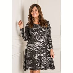Nouvelle Lurex Foil Print Swing Dress (358856) | Ideal World