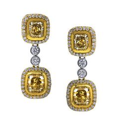 18k Two Tone Gold Yellow Diamond Drop Dangle Earrings