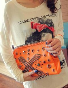Punk Studded PU Leather Clutch Bag For Women