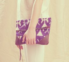 Grace Leather & Kimono Clutch