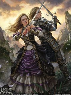Artist: Laura Sava aka anotherwanderer - Title: Twofold Xerete adv - Card: Twofold Xerete (Crossed Swords)