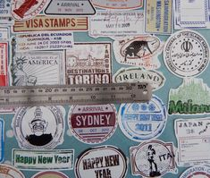World passport stamp and vintage landmarks travel stickers assorted pack of 57