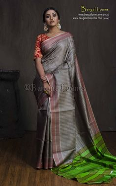 Pure Tussar Silk Saree in Gray and Green