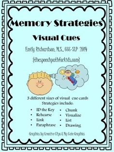 Memory Strategies & Visual Cues {freebie} by The Speech Path For Kids Memory Strategies, Teaching Strategies, Teaching Resources, Speech Therapy Activities, Language Activities, Speech Language Pathology, Speech And Language, Aphasia Therapy, Occupational Therapy