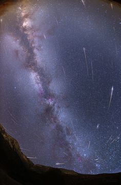 """Perseids and The Milky Way """"A mosaic of maximum of Perseid meteor shower from Ivan Dolac (Hvar island, Croatia) above peaks Začerbina and Gvozd. The image shows 79 meteors of Perseid meteor shower caught from to August — Petr Horálek, Úpice observatory"""