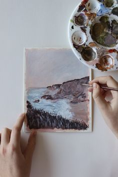 A small, soft landscape painting of a beach scene with warm, pink tones by Kirsten Jenna Haviland Pink Beach, Pink Tone, Beach Scenes, Mixed Media Art, Landscape Paintings, Miniatures, Warm, Instagram, Mixed Media