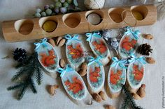 """Купить Набор деревянных украшений """"Белочки"""" (бирюза) - белка, белочка, подсвечник, подсвечники, подсвечник из дерева"""