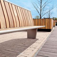Public bench / contemporary / in wood / metal HIGHLIFE Streetlife