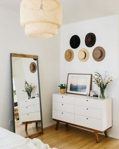 calm and classic decor Inspired by old factory spaces in Brooklyn, this iron-and-mango wood floor mirror adds industrial style to rooms. Decoration Bedroom, Decor Room, Home Decor Bedroom, Bedroom Furniture, Industrial Bedroom Decor, Ikea Bedroom, Cheap Furniture, Furniture Ideas, Simple Bedroom Decor
