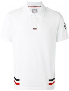 Moncler Gamme Bleu Red Cotton Polo With Side Bands Polo Shirt Style, Polo Shirt Outfits, Polo T Shirts, Collar Shirts, Sport Shirt Design, Sport T Shirt, Camisa Polo, Moncler, Golf Attire
