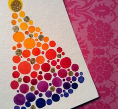 Glitter Ombre Christmas Tree Holiday Greeting Card by jellybeans, $12.50