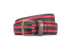 #2997 - Black and red belt from a spare race bicycle tyre, entirely handcrafted, iron branded and numbered. Strap folded up and stitched up with cotton colored strings.