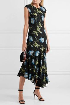 Topshop Unique - Evelyn Asymmetric Printed Silk-georgette Midi Dress - Black - UK