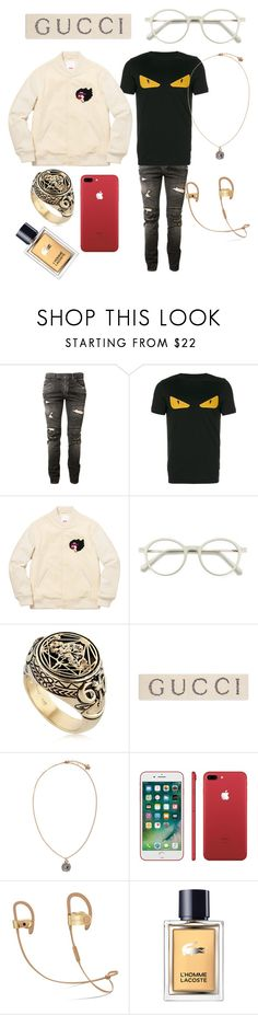 """Kylie"" by vejacomotenpovoa ❤ liked on Polyvore featuring Balmain, Fendi, EyeBuyDirect.com, Meadowlark, Gucci, Versace, Lacoste, men's fashion and menswear"