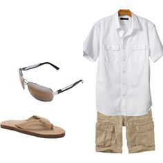 A fashion look from June 2012 featuring short sleeve shirts and leather sandals. Browse and shop related looks.